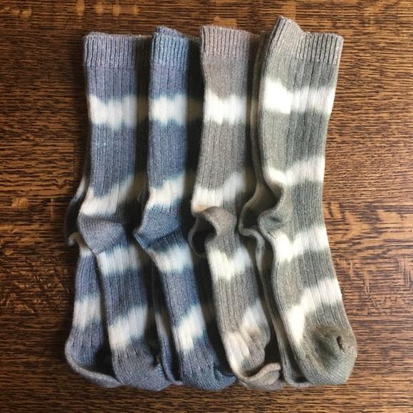 Tie Dye Crew Socks, Striped Neutral Tones